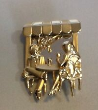 NEW AJC gold tone MIRRORED CAFE pin brooch couple man woman  table sipping wine