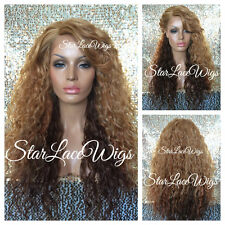 Curly Wavy Strawberry Blonde Ombre Mix Lace Front Wig Bangs Layered Heat Safe Ok