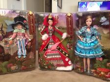 Alice In Wonderland, Queen Of Hearts and Mad Hatter Barbie Doll Set in box