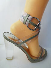 STUART WEITZMAN Womens 8M Gray & Clear Ankle Wrap W Clear High Heel Sandal Shoe