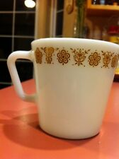 VINTAGE Pyrex Gold BUTTERFLY & Flower Gold Mug Coffee Cup
