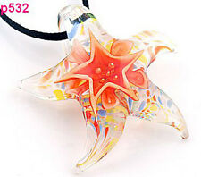 Starfish star Lampwork Glass Pendant Necklace p532 orange