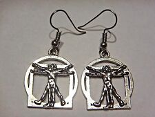 HYPOALLERGENIC VITRUVIAN MAN EARRINGS Leonardo da Vinci art science anatomy 3B