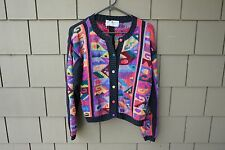A+ Peruvian Connection Pima Cotton Cardigan Crop Sweater Womens Small 1990's VTG