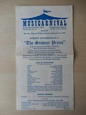 August 1959 - Thistledown Race Track Playbill - The Student Prince - Rounseville