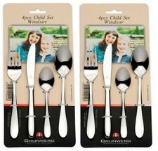 2 x Twin Pack Grunwerg Stainless Steel 4 Piece Children Child Cutlery Set