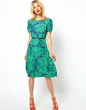 ASOS GREEN & BLUE ANIMAL PRINT PINUP SUMMER FASHION DRESS WITH BELT SIZE 12