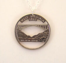 West Virginia, Cut-Out Coin Jewelry, Necklace