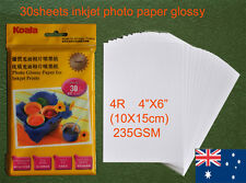 30 sheets 4R (102 × 152 mm) 235GSM Inkjet  Glossy Photo Paper