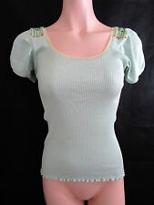 Alannah Hill Mint Green 'Whisper Quietly Top' Size 10 Silk & Cotton