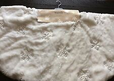 Thro Marlo Lorenz White Faux Fur sliver sequin snowflakes Christmas Tree Skirt