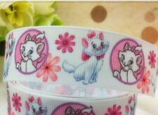 "1m Marie Cat The Aristocats Pink White Printed Grosgrain Ribbon, 1"" 25mm"