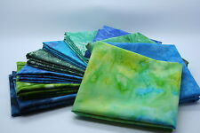 Quilt Fabric Mystery Pack 10 X Blue/Green Batik  Fat Quarter bundle: 100% cotton