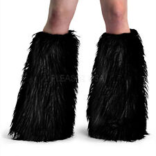 Yeti-01 Sexy Faux Fur Black Leg Warmers Boot Covers Gogo Dancer Rave Raver Wear