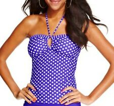 Hula Honey Tankini Top Sz L Blue White Polka Dot Halter Bandeaukini Swim Top