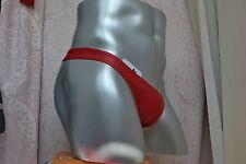 imitation leather men's underwear jockstrap cute belt t-back Red size M