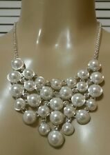 New! Charter Club Silver-Tone Faux Pearl and Crystal Bib Necklace