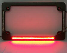 Quad LED Flat Motorcycle License Plate Frame - Black Finish w/ Taillight & Turns