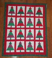 RED GREEN CHRISTMAS HOLLY CHRISTMAS TREE QUILT CHRISTMAS DECORATION 60 X 50""