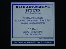 R & C AUTOMOTIVE P/L SUNNY HOLLOW LANE BACCHUS MARSH 674521 WEST GOLF COASTER