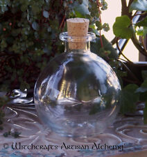 "Crystal Clear Round Glass Corked Spell Potion Bottle ""B"" Style 8 oz."