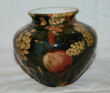 "4"" HANDMADE CERAMIC DECOUPAGE FLORAL COUNTRY DESIGN VASE GLAZED POTTERY"