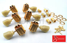 Grover 135 series vintage 3L+3R Gibson style guitar machine heads, tuners Gold