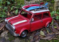 Vintage Red Mini Cooper Tin Model Aged Looking  Retro 1960's with Surfboards
