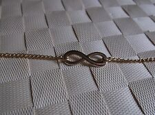 """BRAND NEW GOLD COLOURED CHAIN WITH INFINITY SYMBOL BRACELET 8 """"INCH"""