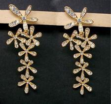 C-Vintage Gold Plated Crystal Flower Dangler Long Drop Earrings Women Jewelry