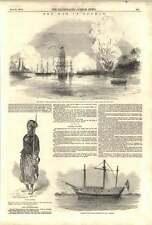 1852 War In Burma Explosion Magazine Stockade Destroyed Man-of-war Captured