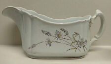 Dresden China Gravy Boat, Ohio Pottery, Antique Blue White Floral Pattern