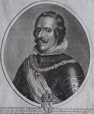 PHILIPPES IV ROI D'ESPAGNE DE NAPLES DE SICILE.. Portrait.Gravure originale 1653