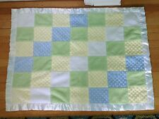 Carter's Just One Year Blue Yellow White Dots Plush Squares Patch Blanket