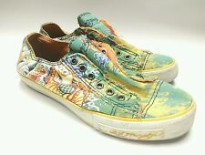 ED HARDY 19STL105W TIEDYE LOWRISE TURQUOISE YELLOW SHOES WOMENS SIZE 7