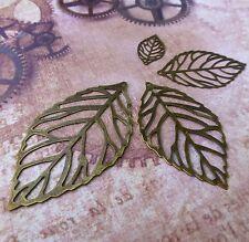 24 mm Small Filigree Leaf Pendants Pack of 10 embellishments