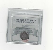 "**1900 Round ""OO"",**, Coin Mart Graded Canadian,  5 Cent, **VG-10 Scratch**"