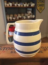 Vintage Large Staffordshire Chef Ware Blue & White Banded Kitchen Jug – Great! –