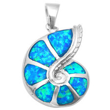 BLUE OPAL SNAIL SEA SHELL .925 Sterling Silver Pendant Necklace