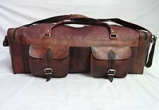 """27"""" Large Genuine Leather Duffle Bag Sports Gym Bag Travel Hold All Luggage Bag"""