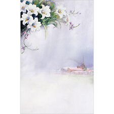 New Church Bulletin Brochure Paper (Package-100) - Church and White Flower