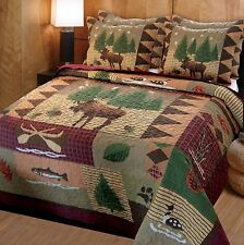 NEW Moose Lodge Quilt Set Full/Queen Home Room Decor Shams Wilderness Theme Bed