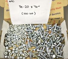 "Loty of 100 1/4""-20 x 7/8"" Hex Bolt Bolts Safety Nylon Lock Nuts x100"