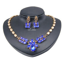 Wedding Necklace Earrings Set Blue Zircon Stone Gold Plated Jewelry Sets