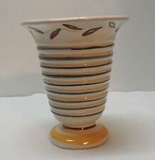 Pottery Ribbed Vase Hand Painted Designs Vintage