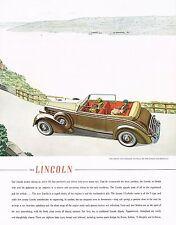 1936 BIG Vintage Lincoln Brunn Convertible Victoria Car Automobile Art Print Ad