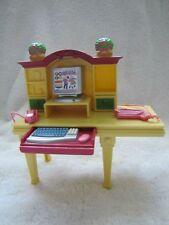Fisher Price Loving Family Dollhouse HOME OFFICE COMPUTER DESK Pull-out Keyboard