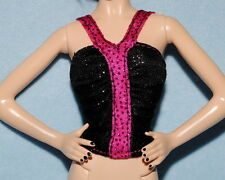 SASSY Hot Pink & Shiny Black Bunched Sleeveless Genuine BARBIE Party Shirt Top