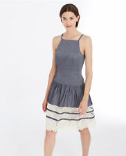 Ann Taylor – Misess 12 Chambray Tiered Lace Chambray Dress $149.00
