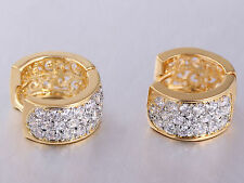 1Pair 18k Gold Filled Crystal Women Men's Huggie Hoop Stud Fashion Earrings New